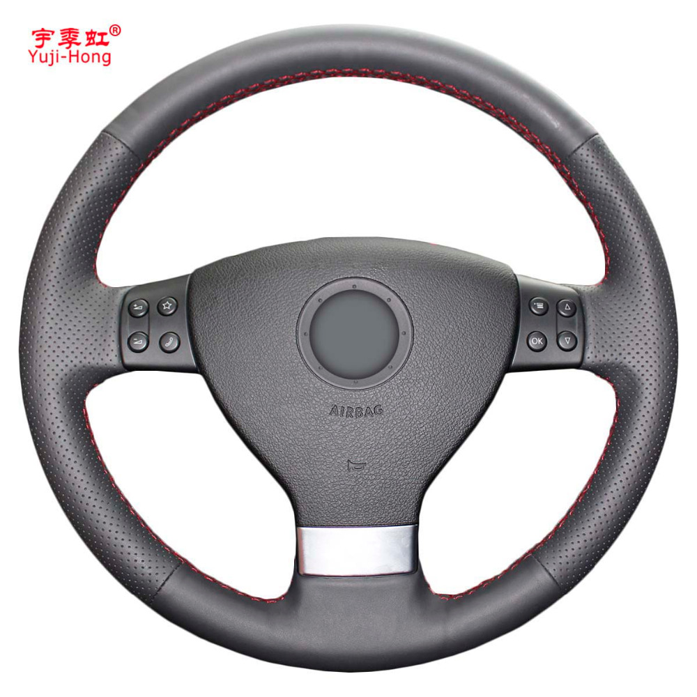 Yuji Hong Top Layer Genuine Cow Leather Car Steering Wheel Covers Case for Volkswagen VW Magotan