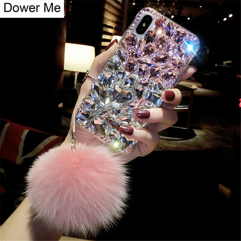 Dote Me Moda de Luxo Que Bling Cristal de Diamante Caso Capa Com Pele De Raposa Bola Pingente Para Iphone XS Max XR X 7 8 6 6 s Plus 5 5S SE