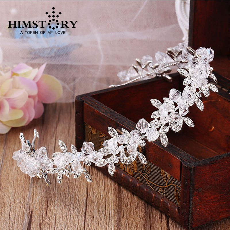 HIMSTORY Handmade Sparkling Clear Crystal Wedding Wedding Hair, Bride Headdress Hair Accessories