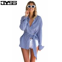 JYSS Fashion New Loose Long Sleeved Stripes Irregular Band Tie Waist Shirt Shirt Female 81109