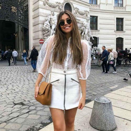 Przezroczyste damskie siatkowe zwykła bluzka topy przezroczyste koronkowe bufiaste rękawy topy kobieta lato codzienne bluzki etui dla kobiet w górę