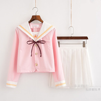 2018 autumn japanese school uniform class girl maid sailor cosplay escolar japanes pink costume tie pleated dolly skirt full set