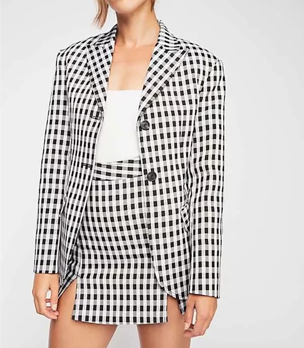 Women popular new Z0915T1 Europe and the United States fall 2018 new suit + lattice grid bust skirt suit # 6035
