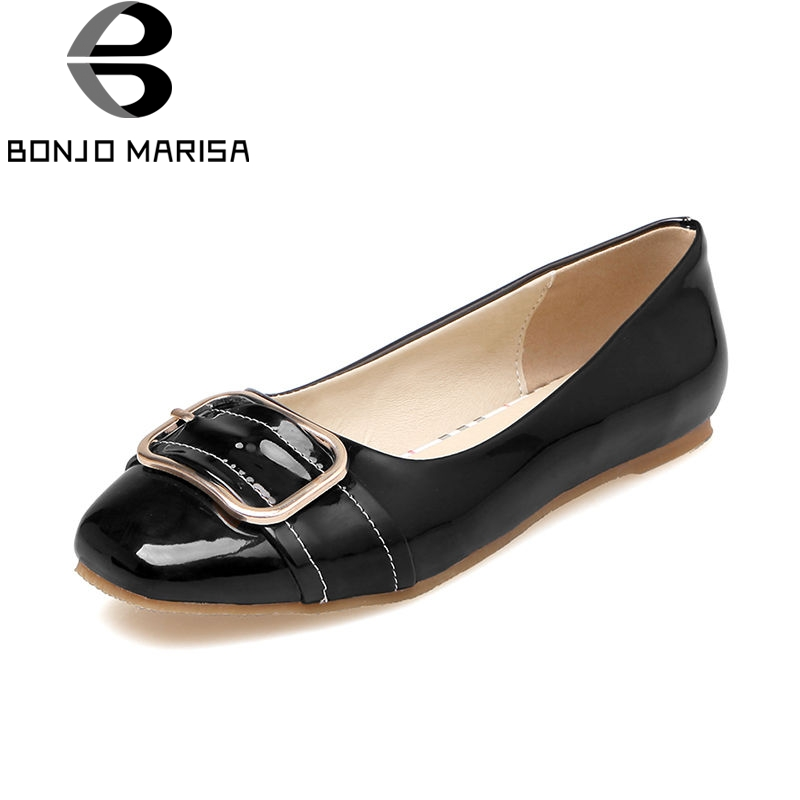 BONJOMARISA 2018 Spring Autumn Fashion Patent Leather Women Flats Big Size 34-43 Shallow slip-on Buckle Shoes Woman Casual Shoes new fashion luxury women flats buckle shallow slip on soft cow genuine leather comfortable ladies brand casual shoes size 35 41