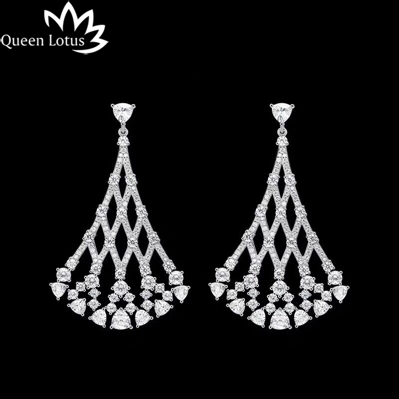 Queen Lotus 2017 new women Jewelery Fashion High-end custom lady earrings manual micro-set AAA zircon earring girl gift party