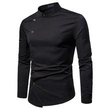 Unique Design Men's Long sleeve Shirt Stand collar Oblique Threshold Solid color Mens Dress Shirts Men Blouse Fashion slimming trendy shirt collar solid color oblique button long sleeve polyester shirt for men