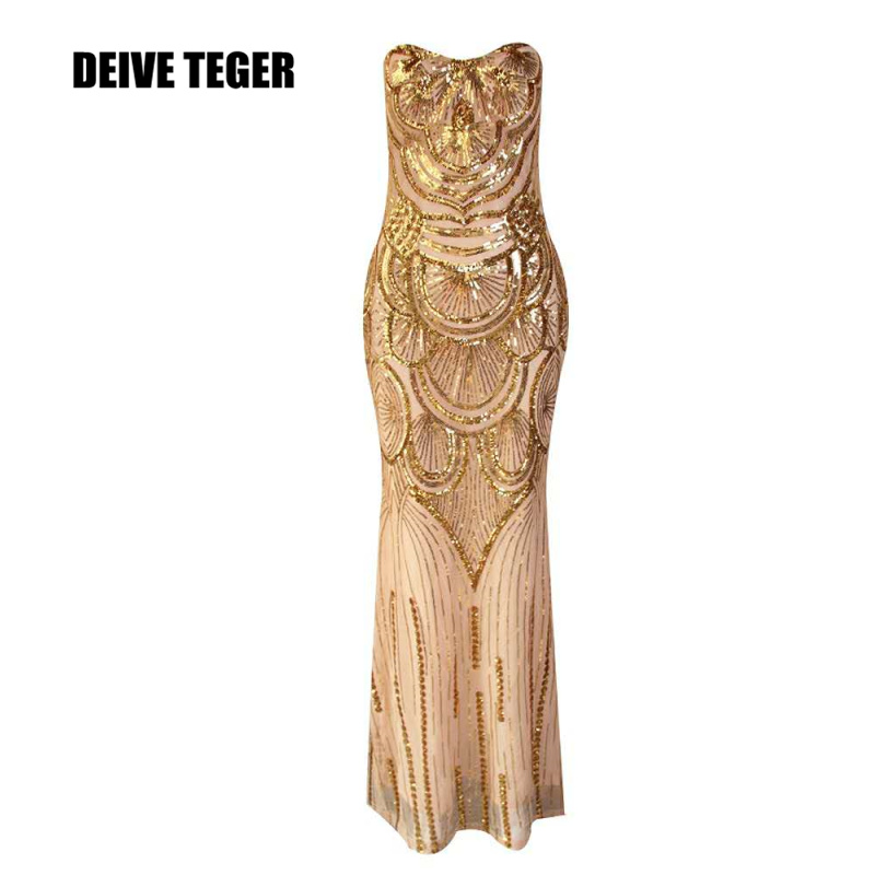 DEIVE TEGER   Celebrity Evening Party Off the Shoulder Strapless Evening Party Gold Sequined Long Women vestidos BY176