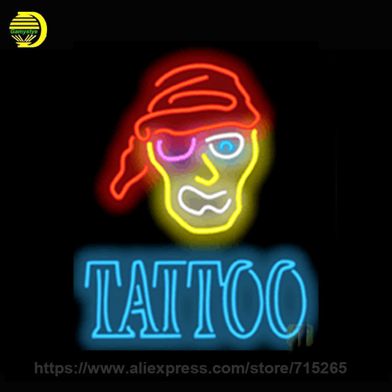 Tattoo with Pirate Custom Neon Sign Board Handmade Glass Tube Neon Bulbs Neon Light Sign Business Advertise Bright Display 20x30