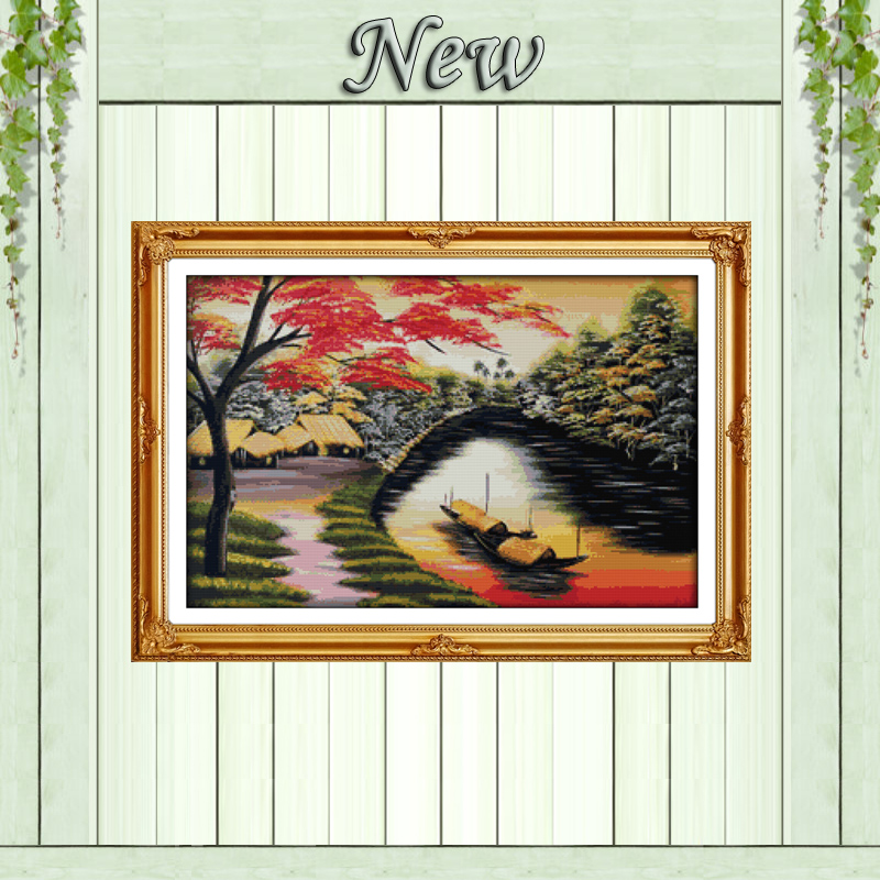 Lake Hometown Diy Vietnam Scenery Painting Counted Print On Canvas Dmc 11ct Chinese Cross Stitch Needlework Sets Embroidery Kits Cross-stitch