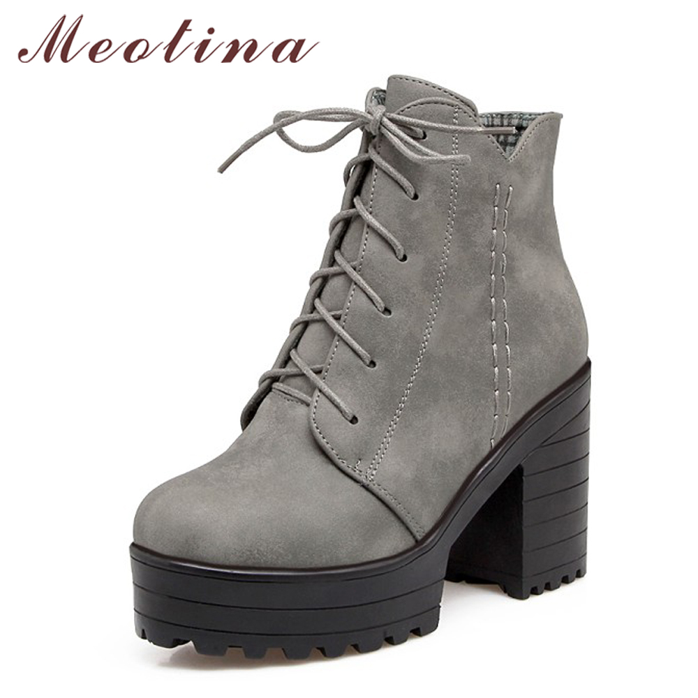 Meotina Women Boots Thick High Heel Boots Women Platform Ankle Boots Autumn Shoes Punk Lace up Winter Footwear Big Size 34-43 купить дешево онлайн
