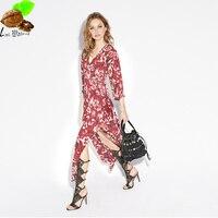 Moda damska czechy druku kimono dress cienki kwiat vent dekolt sznurowanie szyfonu w stylu vintage dress kobiet druku kwiatowy długi dress