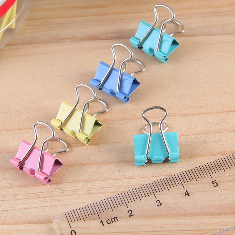 60 Pcs/lot Colorful Metal Binder Clips 15mm Notes Letter Paper Clip Office Supplies Color Random Office Binding Products