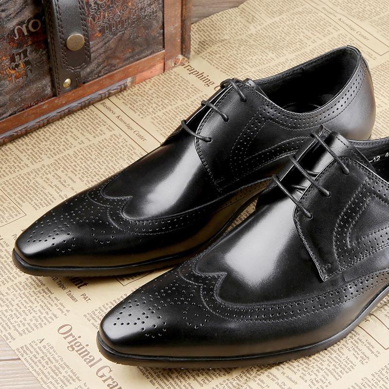 Elegante Primavera Oxfords Hombres Boda Zapatos De Cuero Borgues Tallado Vestido Italiano 2 Alta 1 Los Calidad 3 Sneakers Hx7q8w