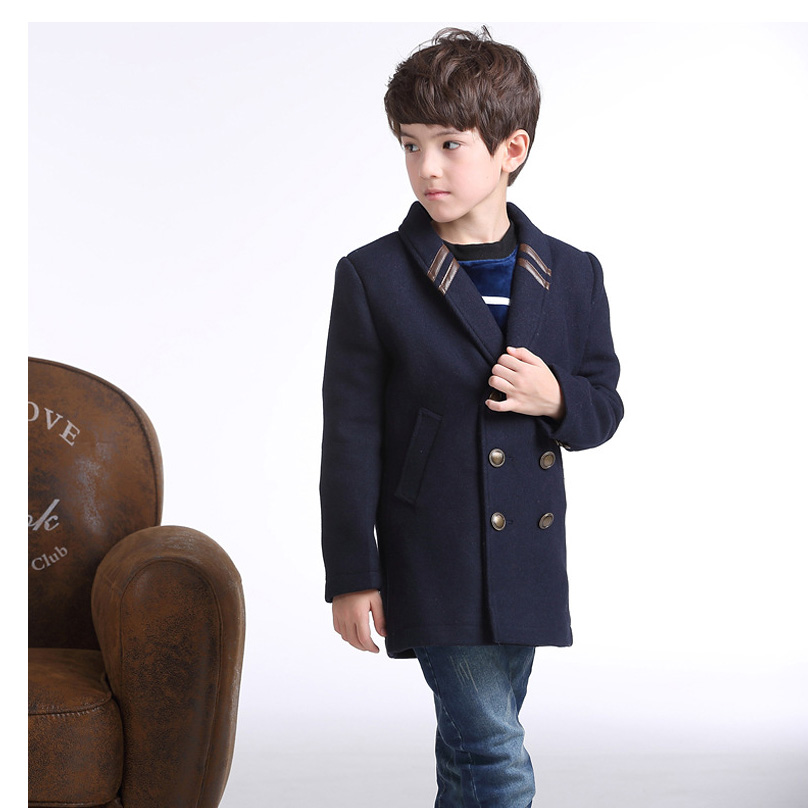 New winter style children warm woolen coat kids cashmere trench child kids long style casual outwear