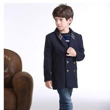 Новый зимний стиль дети теплые шерстяные пальто дети кашемир траншеи ребенок дети долго стиль casual пиджаки пальто для мальчиков
