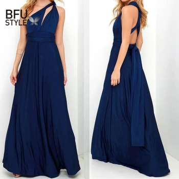 Sexy Long Dress Bridesmaid Formal Multi Way Wrap Convertible Infinity Maxi Dress Navy Blue Hollow Out Party Bandage Vestidos 1