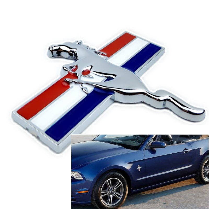 1pair 3D Chrome metal Mustang Running Horse Fender Side badge decal rear Trunk emblem Decoration sticker car-styling car styling for mercedes benz g series w460 w461 w463 g230 g300 g350 chrome number letters rear trunk emblem badge sticker