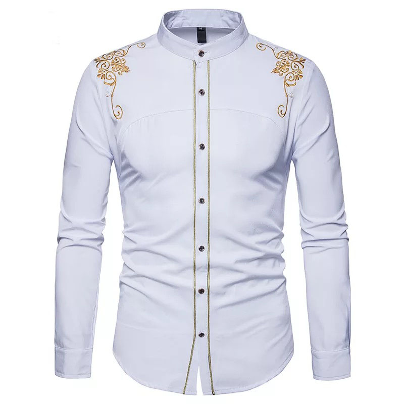 Plus Size Fashion Men Vintage Slim Fit Shirt Male Casual Embroidered Solid Stand Collar Button Up Work Shirt Costume Top For Men