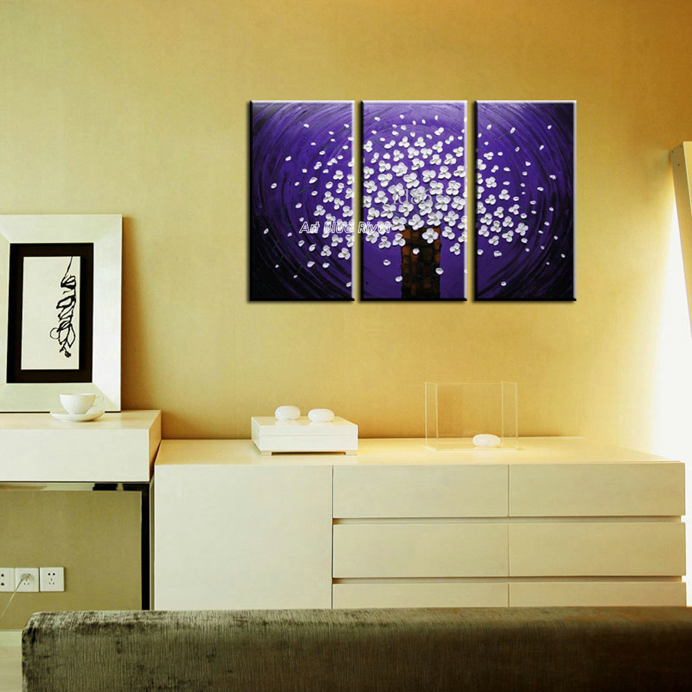 3 panel canvas art triptych paintings Purple flower abstract modern ...