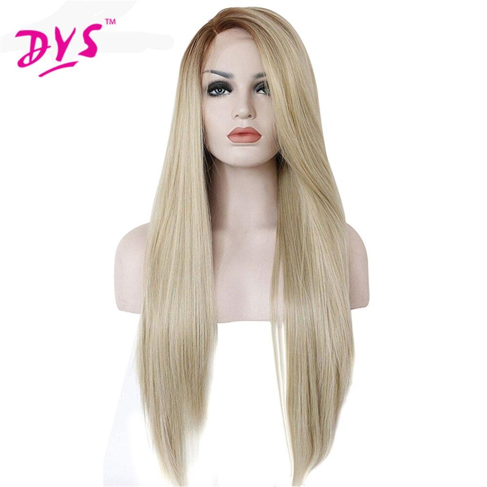 Deyngs longue brésilienne soyeuse droite synthétique dentelle avant perruque Ombre lumière Blonde couleur perruques pour les femmes résistant à la chaleur coiffure