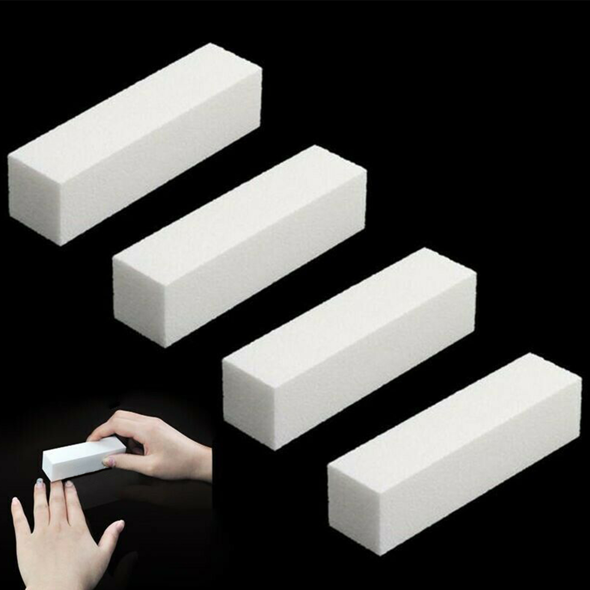 4pcs 4 Way Nail Art Buffer Sanding Sponge Nail File Polisher Block Pedicure Manicure Nails Buffing Sanding Tool DIY Nail Buffers