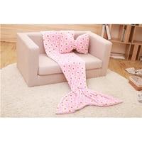 Gift Bowknot Pillow Mermaid Blanket Adult Children's Sofa Nap Sleeping Blanket Coral fleece Sleeping Bag
