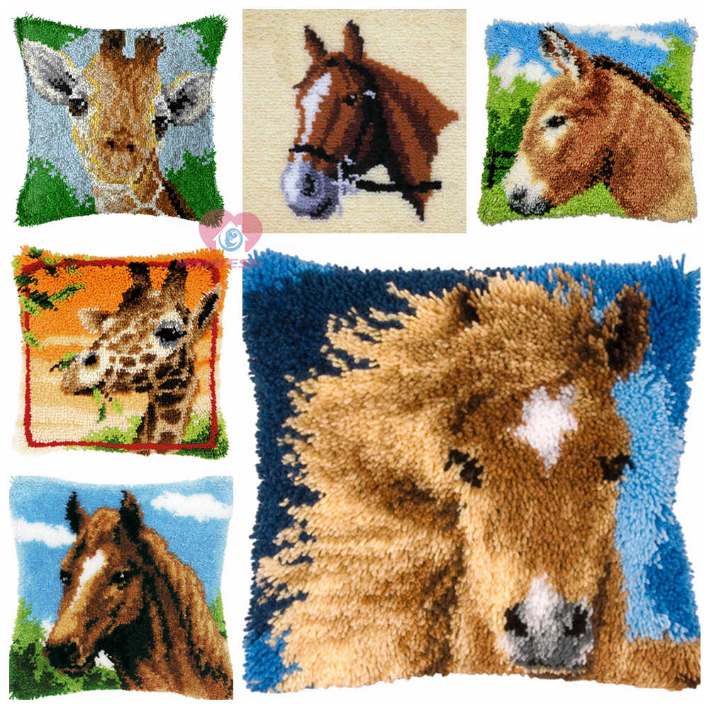 Horses Cushion Latch Hook Kit