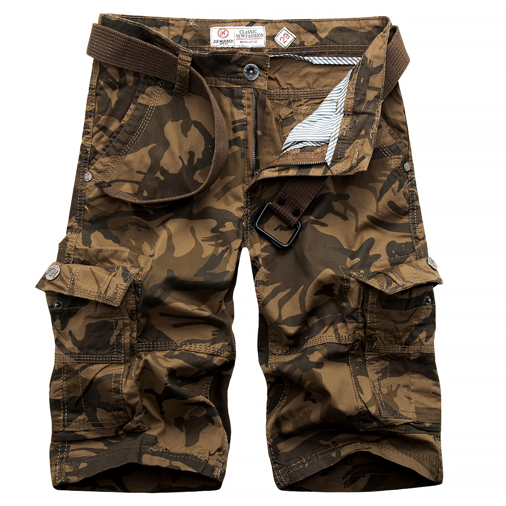 2017 Men Cargo Shorts mens Casual Loose Short Pants Camouflage Military male Summer Knee Length Casual Bermuda shorts size 38