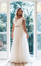 Chiffon Wedding Dress 2020 V Neck Lace Chiffon Beach Bridal Dress Short Sleeves Cheap White Long Wedding Gowns Plus Size short sleeves v collo day dress
