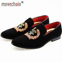 movechain Men's Suede Leather Loafers Mens Casual Embroidery Moccasins Oxfords Shoes Man Party Driving Flats EUR Sizes 38 45