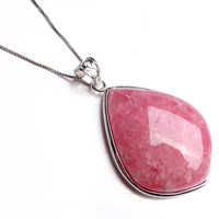 Genuine Natural Stone Red Rose Rhodochrosite Women's Fashion Jewelry Waterdrop Necklace Charm Crystal Bead Pendant 33x23x7mm