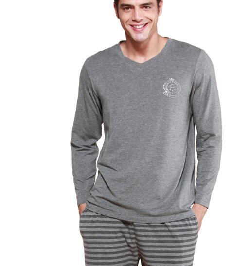 2016 homens da marca de outono pijamas pijamas homens hombre casual simples de algodão sólida o pescoço completo manga conjuntos de pijama homens melhor
