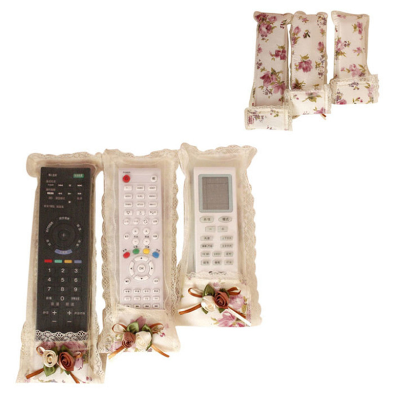 New 3 Pcs Flower Lace Remote Control Dustproof Case Cover Bags TV Air Condition Protector Dropshipping Almacenamiento remoto Hot