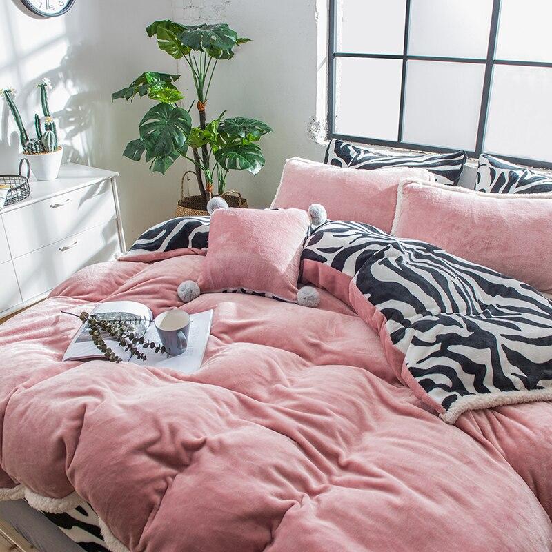 Розовая, серая, фиолетовая, зеленая флисовая ткань, Комплект постельного белья, бархат, фланель, пододеяльник, черный, белый, с рисунком зебр... - 3