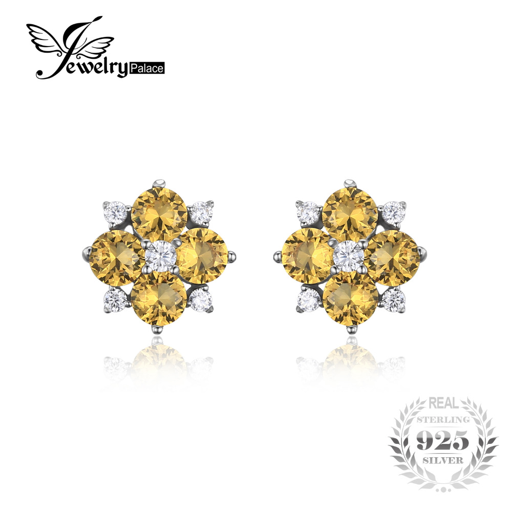 Jewelrypalace Flower 2ct Created Yellow Sapphire Stud Earrings Solid 925  Sterling Silver Jewelry Party Trendy Earrings
