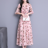 Summer Elegant Temperament Slim Chiffon Printed Women Dress 2018 New Style Classic V neck Lotus Leaf Edge Office Lady Dresses