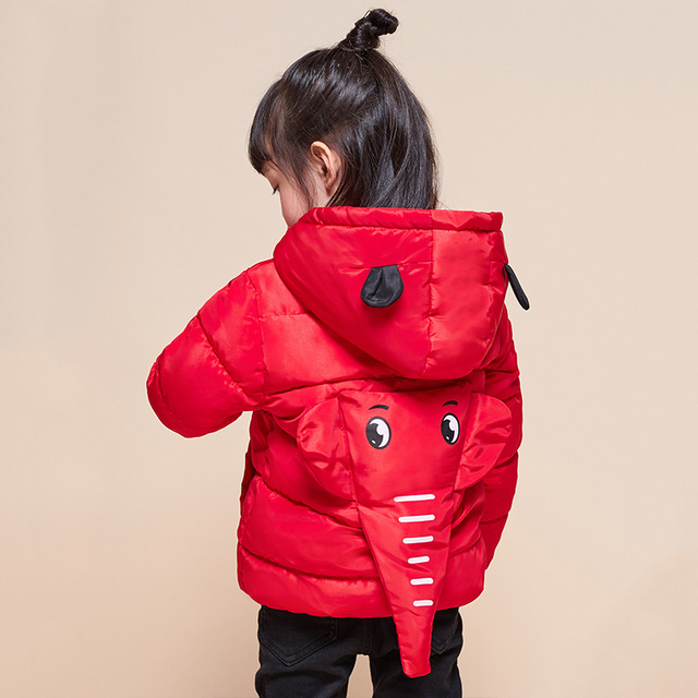bd60d55f882b Winter Boys Girl Elephant Hooded Warm Down Jackets Kids Coat Jacket ...