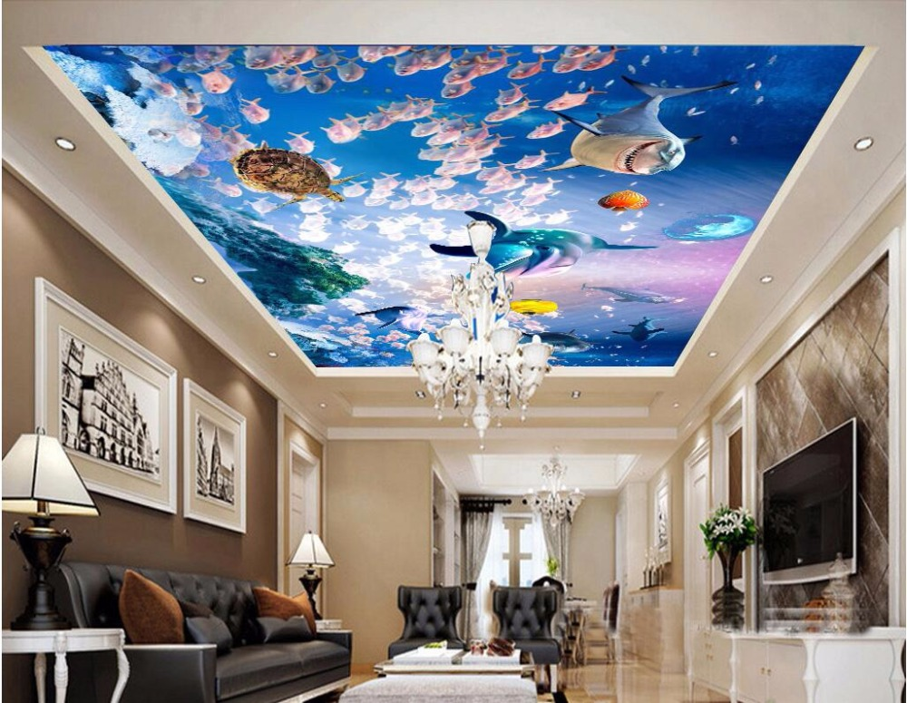 Custom photo 3d wallpaper non woven ceiling mural shark for Ceiling mural wallpaper