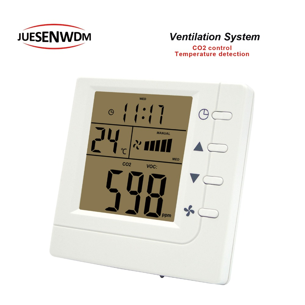 RS485 air quality monitoring instruments CO2 air controller adjustment ppm value for Three speed ventilator