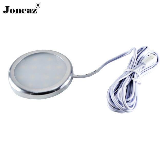 2 pcs lot Led cabinet light for kitchen closet wardrobe DC12V round lampada 2 meter cable 2W smart super Joneaz