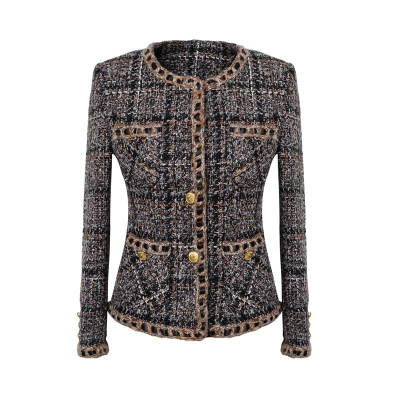 Femmes tweed tressé veste 2017 automnehiver femmes manteau