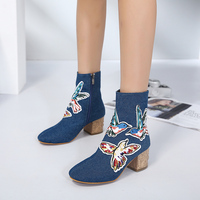 Women Demin Cowboy Boots Embroider Butterfly Short Booties 6 CM Square Wood Print Heel Blue Canvas