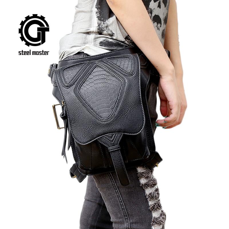 स्टीमपंक कमर बैग क्रॉस बॉडी बैग वुमन शोल्डर मैसेंजर बैग मल्टी-फंक्शन ब्लैक लेदर बैग्स पैकेट पर्स हैंडबैग