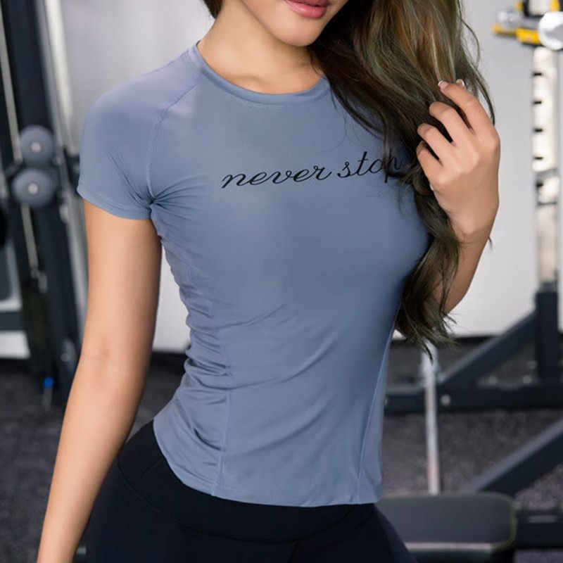 Kobiety Sport topy list koszulki do biegania oddychające koszulki do jogi szybkie suche odzież fitness Workout Top siłownia szkolenia Tight koszule