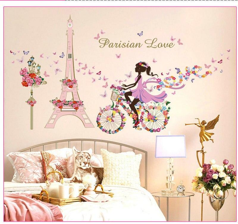 ᐊ* Romantic Paris Wall sticker para niños habitaciones flor Torre ...