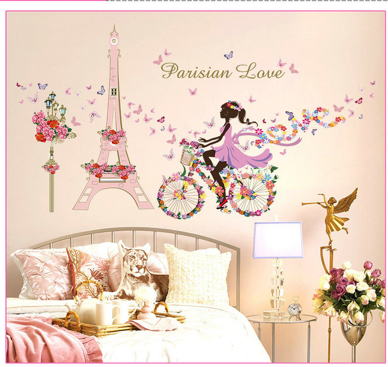 Romantic paris wall sticker for kids rooms eiffel tower - Wall stickers camerette ...