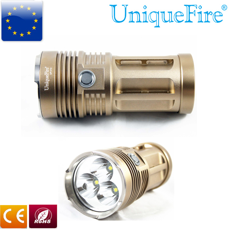 UniqueFire V10 3 Flashlight Golden 4000LM U2 Led Torch Rechargeable Middle Button Switch Lamp For 4*18650 Battery Lanterna