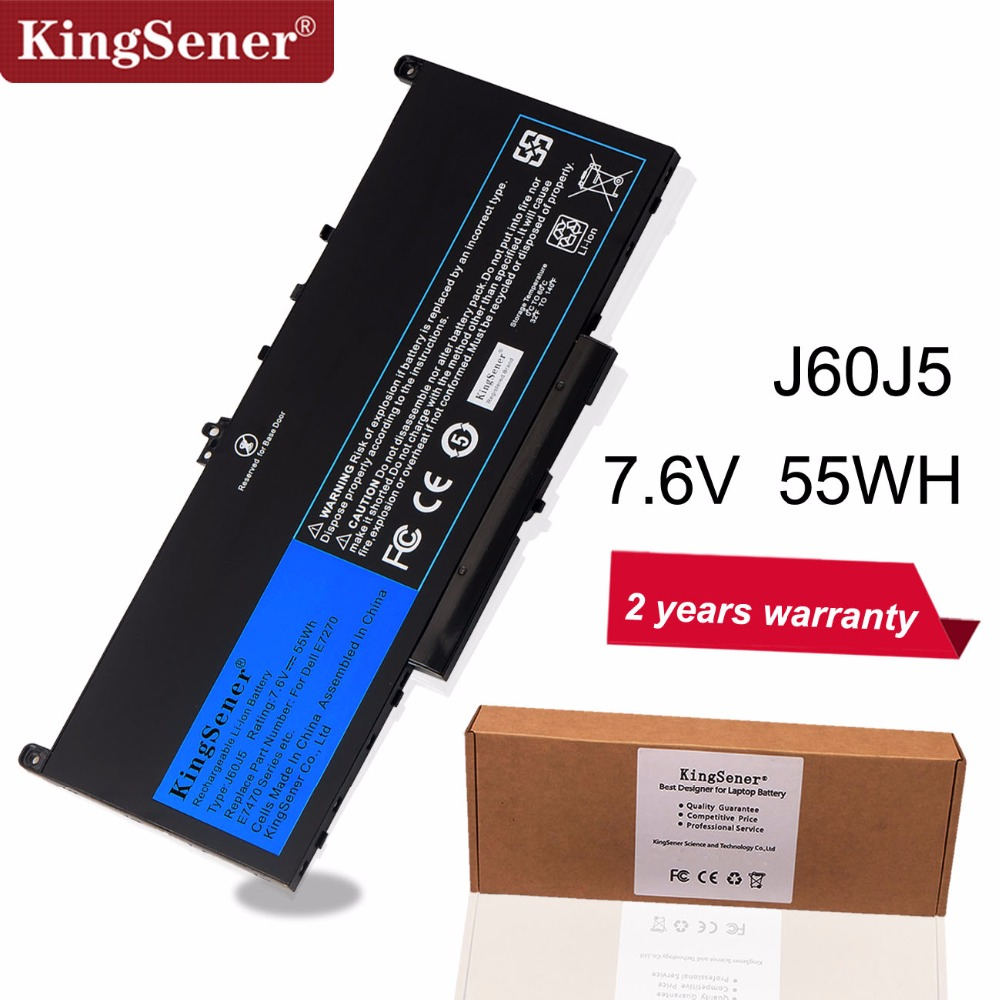KingSener New J60J5 Replacement Laptop Battery For Dell Latitude E7270 E7470 J60J5 R1V85 MC34Y 242WD 7.6V 55Wh