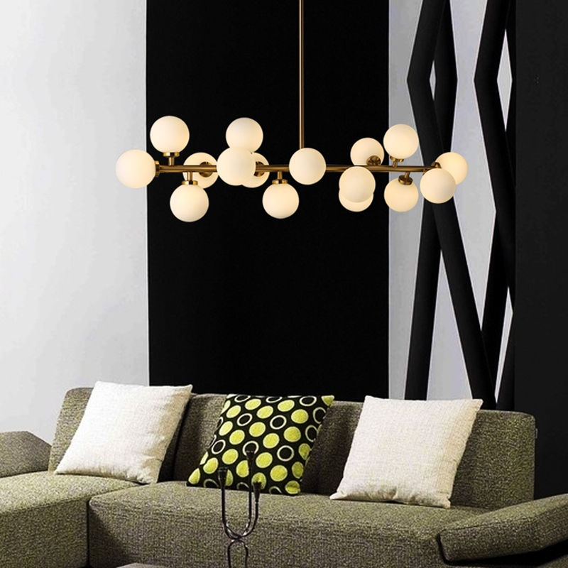 modern pendant lamp for bars modern pendant light white glass ball suspension luminaire dining room pendant lights multi Heads modern guard dining room pendant lights white black golden silver lamp