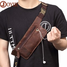 JOYIR Crazy Horse Leather Waist Pack Vintage Bag Belt Phone Chest Fanny Bum Messenger Crossbody For Male